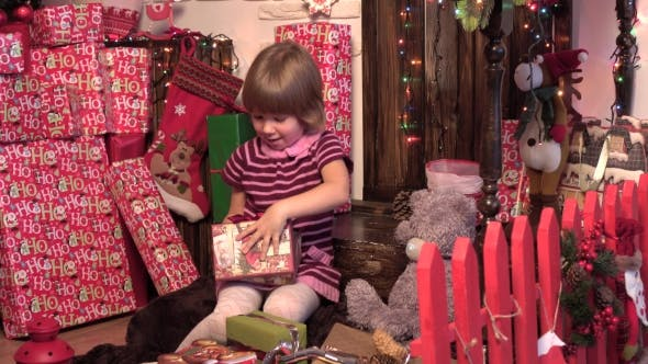 Thumbnail for Christmas Miracle, Magic Gift Box And a Child Baby Girl