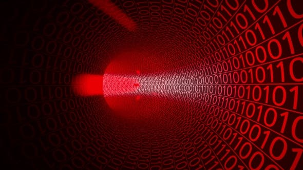 Thumbnail for Flight Through Abstract Red Tunnel Made With Zeros And Ones