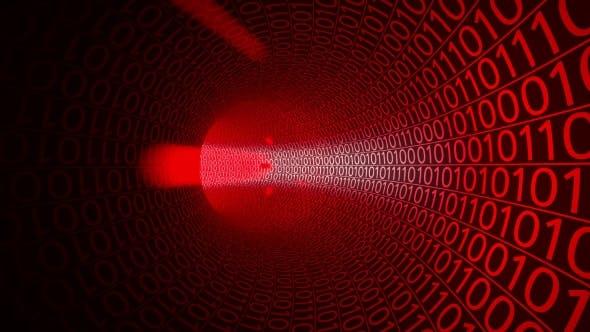 Thumbnail for Flug durch abstrakten roten Tunnel gemacht mit Nullen und Einsen