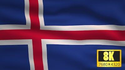 8K Iceland Windy Flag Background