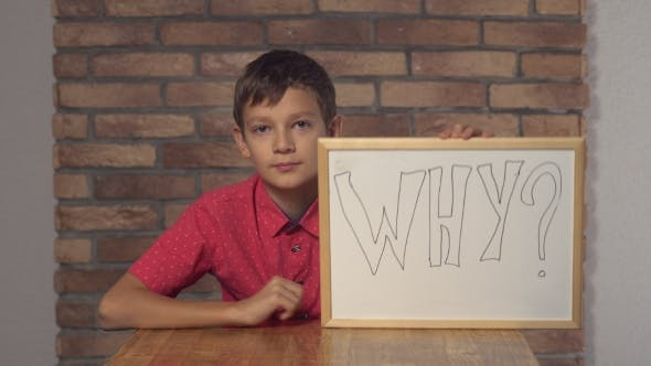 Thumbnail for Child Sitting At The Desk Holding Flipchart With Lettering Why On The Background Red Brick Wall.