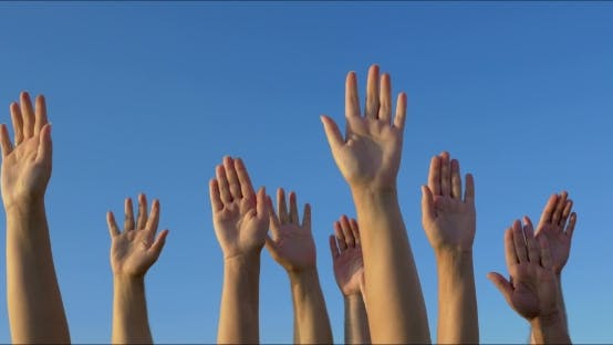 Cover Image for Raised Hands Against Blue Sky