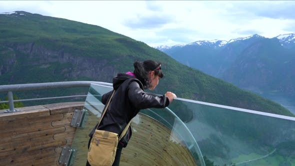 Thumbnail for Stegastein Lookout Beautiful Nature Norway Observation Deck View Point.