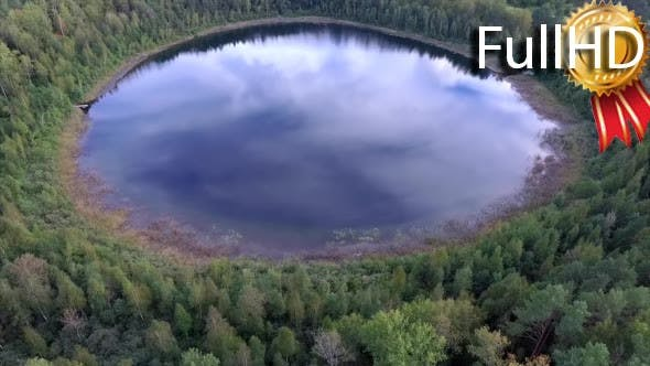Thumbnail for Aerial View on Beautiful Round Lake in a Forest