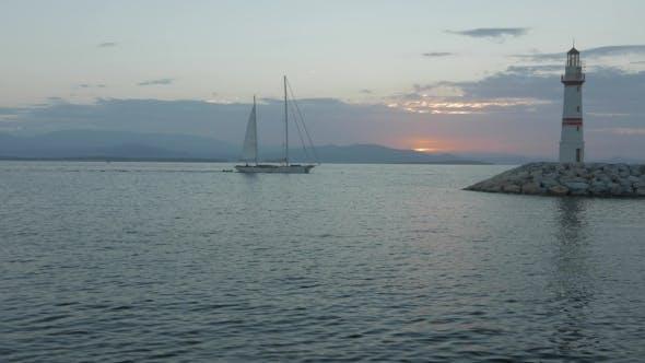 Thumbnail for Sailling Boat Coming To the Marina