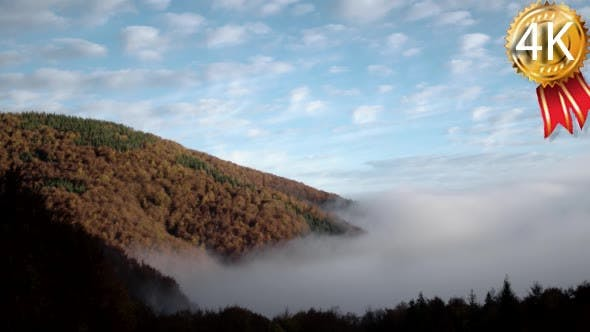 Thumbnail for Magnificent Autumn Morning Fog Rises Over the