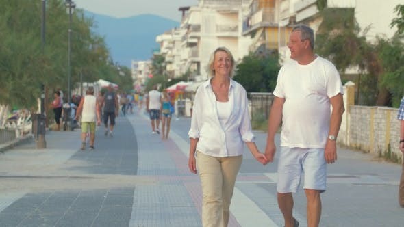 Thumbnail for Couple Having Enjoyable Walk on Summer Resort