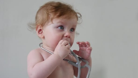 Thumbnail for Cute Baby With Stethoscope In Hands