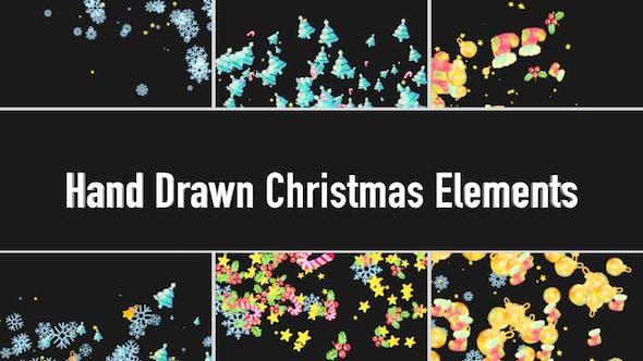 Dessin animé dessiné à la main transitions de Noël