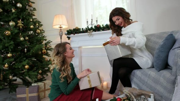 Cover Image for Girlfriends Are Preparing for the New Year Holiday, Packaging Presents, a Christmas Surprise, Women