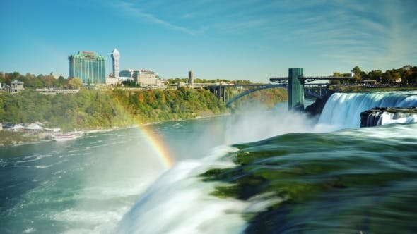 Thumbnail for The World-famous Niagara Falls - a Popular Place Among Tourists. In the Picture, One Can See Two