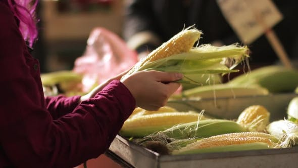 Thumbnail for Woman Picking Up Corn in Market