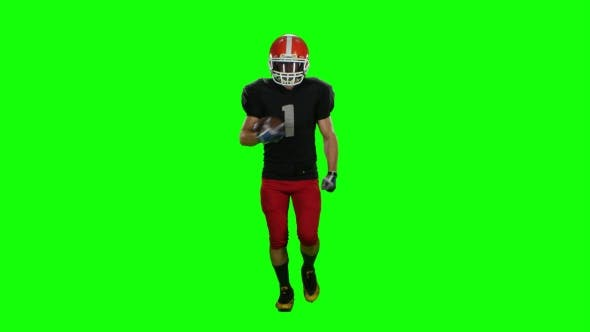 Thumbnail for Player Is Running in a Red Helmet with the Ball in His Hands