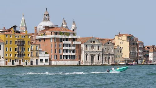 Venice city in Italy seen from a boat