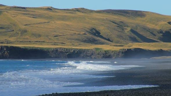 Thumbnail for Powerful Waves of Atlantic Ocean on Southern Coast of Iceland, Black Sand Beach, Near Volcano Katla