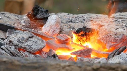 Iron Ignot In Big Fire
