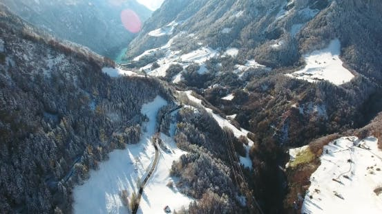 Thumbnail for Mountains in Switzerland at Winter Time Aerial View