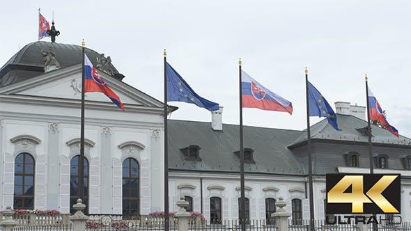 Slovakian and European Flags