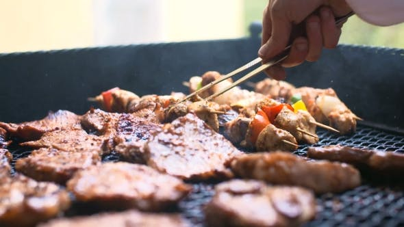 Thumbnail for grilling meat - barbecue cooking background.