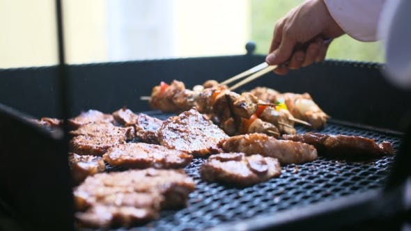 Thumbnail for Barbecue With Delicious Grilled Meat On Grill. Barbecue Party