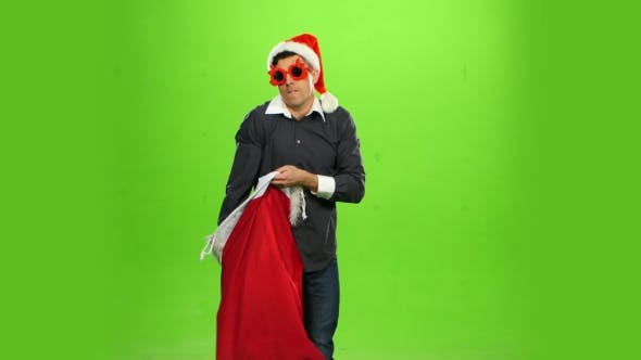 Thumbnail for Happy Man with Christmas Present, Green Screen