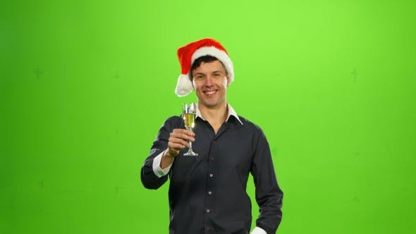 Thumbnail for Happy Smiling New Years Man with Glass of Champagne.