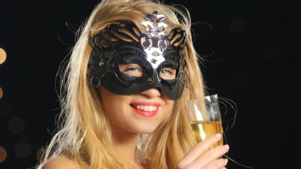 Thumbnail for Blonde Woman with Venetian Mask and Glass of Champagne