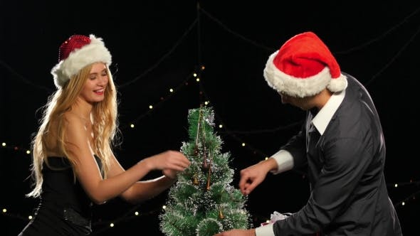 Thumbnail for Three Santa Girl Drinking a Champagne New Year, Green Screen