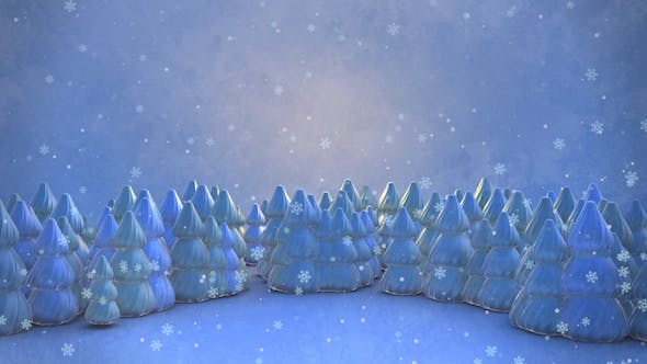 Cover Image for 3D Winter Forest And Snowflakes