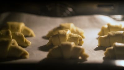 Croissants Are Baked in the Oven.