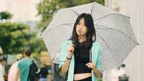 Thinking Asian Girl City Portrait.