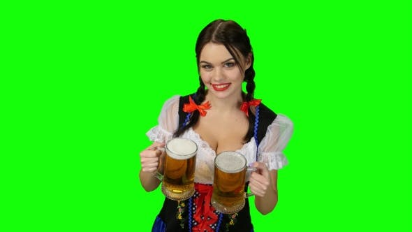 Thumbnail for Girl in Bavarian Costume with Beer Glasses in Their Hands. Green Screen