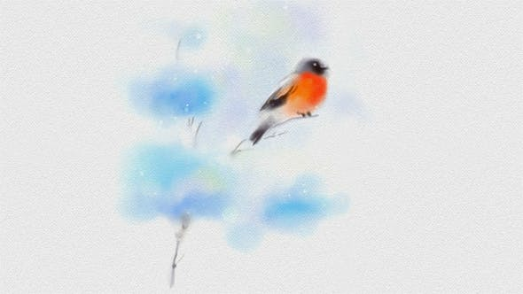 Thumbnail for Painted In Watercolor Christmas Card With Bullfinch