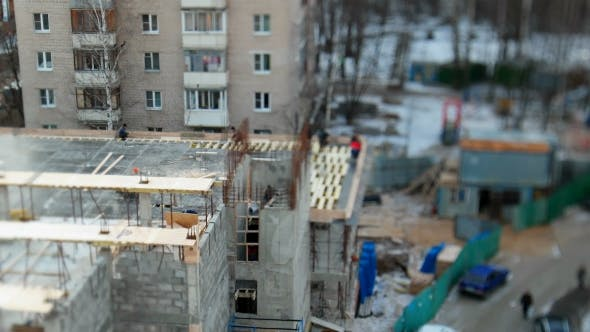 Thumbnail for ODINTSOVO, RUSSIA - October 20, 2015.  Clip of Building construction.Workers in Uniform Build an