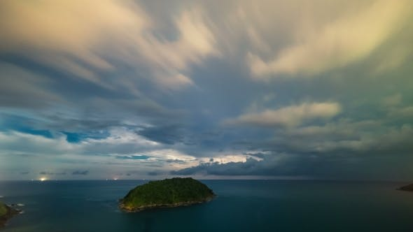 Cover Image for Night Storm and Thunderstorms on Promthep Cape. Phuket Island in Thailand