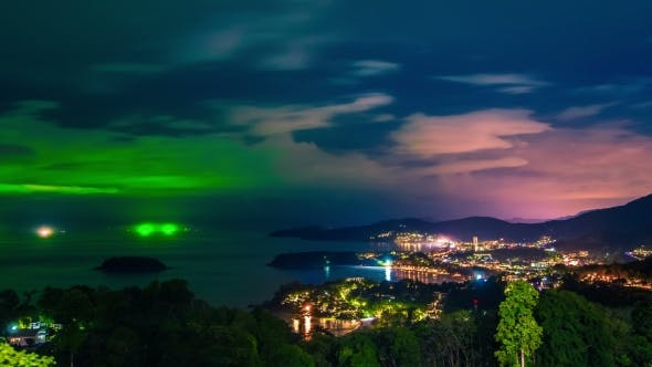Cover Image for Phuket at Night in a Storm, Patong, Karon and Kata Beach, Taken From Viewpoint in Phuket Island
