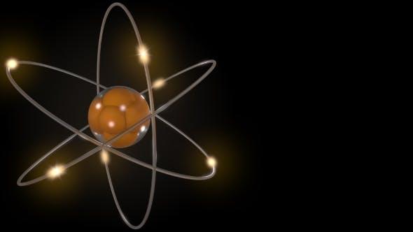 Orange Stylized Atom and Electron Orbits
