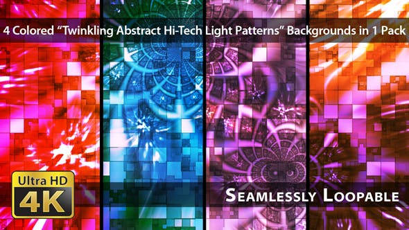 Thumbnail for Twinkling Abstract Hi-Tech Light Patterns - Pack 01