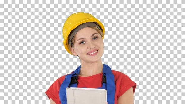 Thumbnail for Young construction worker with tablet computer presenting