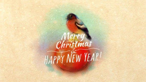Thumbnail for Christmas Card With Bullfinch