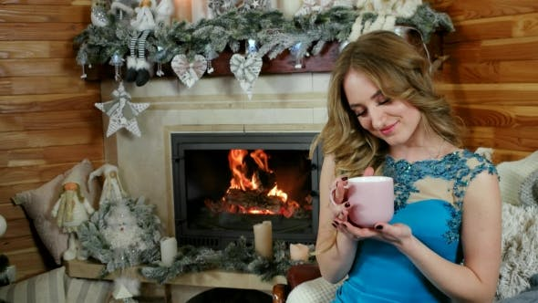 Thumbnail for Beautiful Young Romantic Woman Drinking Hot Beverage at Home, Beautiful Girl Drinking Tea at Home
