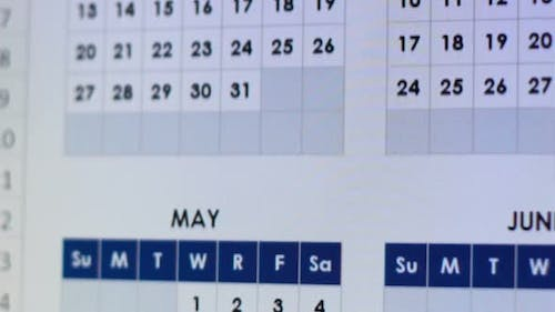 Electronic Calendar Close-Up, Annual Business Planning, Holiday Events and Dates