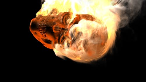 Burning Skull with Alpha Channel