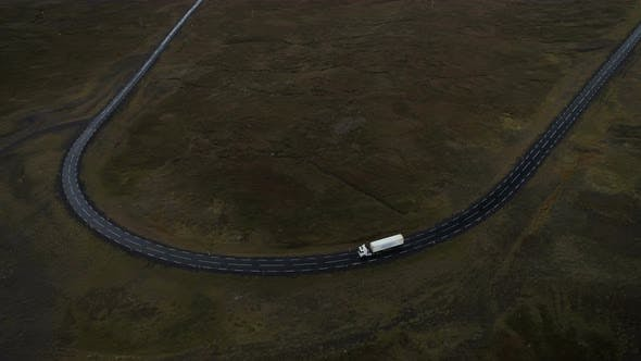 Aerial View Of Cargo Truck Driving On The Road