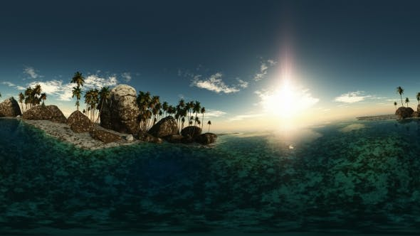 Thumbnail for Aerial VR 360 Panorama of Tropical Island at Sunset