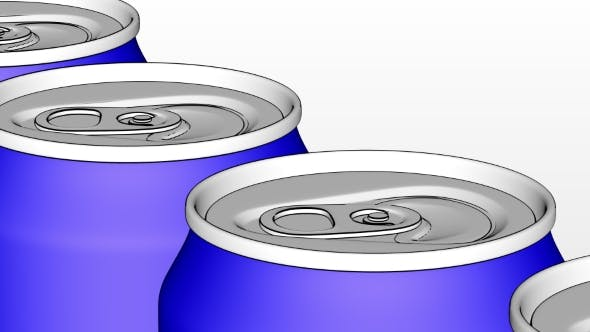 Thumbnail for Carbonated Soft Drink or Beer Production Line with Blue Cans on Conveyor