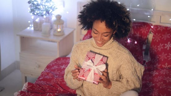 Thumbnail for Smiling African Woman Holding Christmas Gift