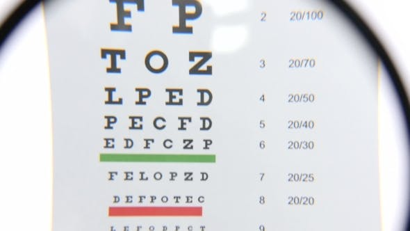 Thumbnail for Magnifier Over Eye Chart Revealing Blurry Text