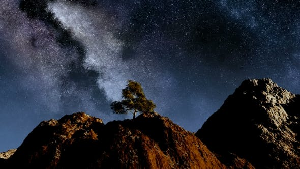 Thumbnail for of Stars and Silhouetted Mountains