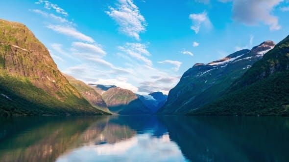 Lovatnet Lake Beautiful Nature Norway .